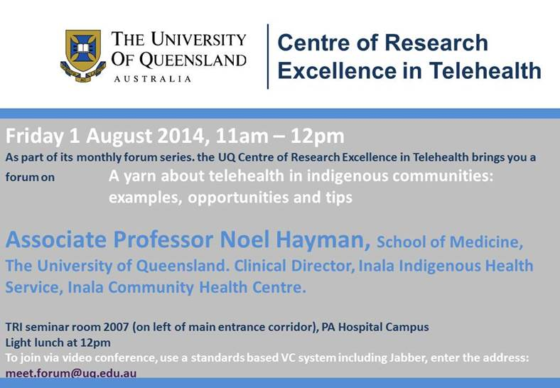 "Associate Professor Noel Hayman presents ""A yarn about telehealth in indigenous communities: examples, opportunities and tips"" @ Translational Research Institute 