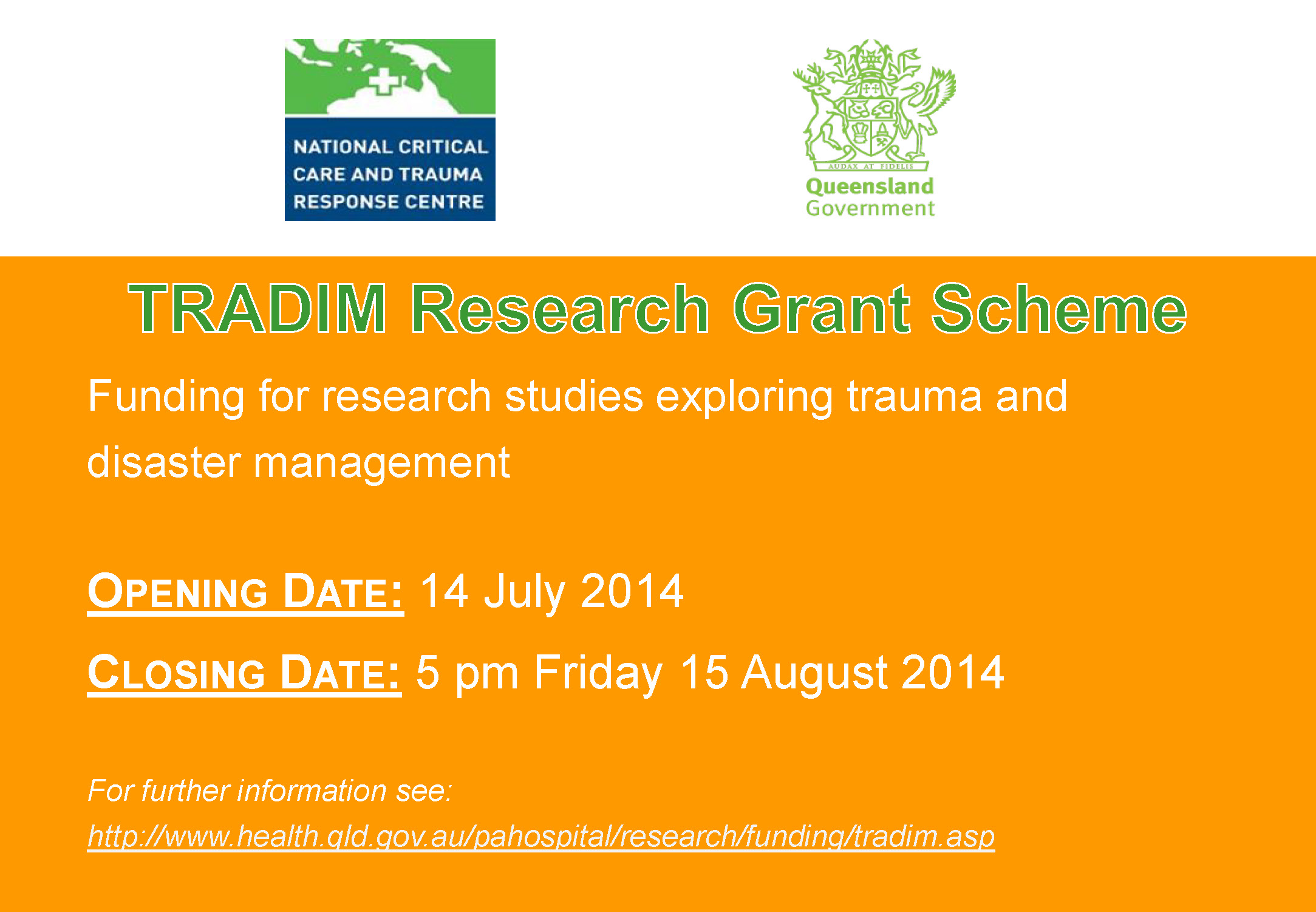 TRADIM Research Grant Scheme - submissions open!